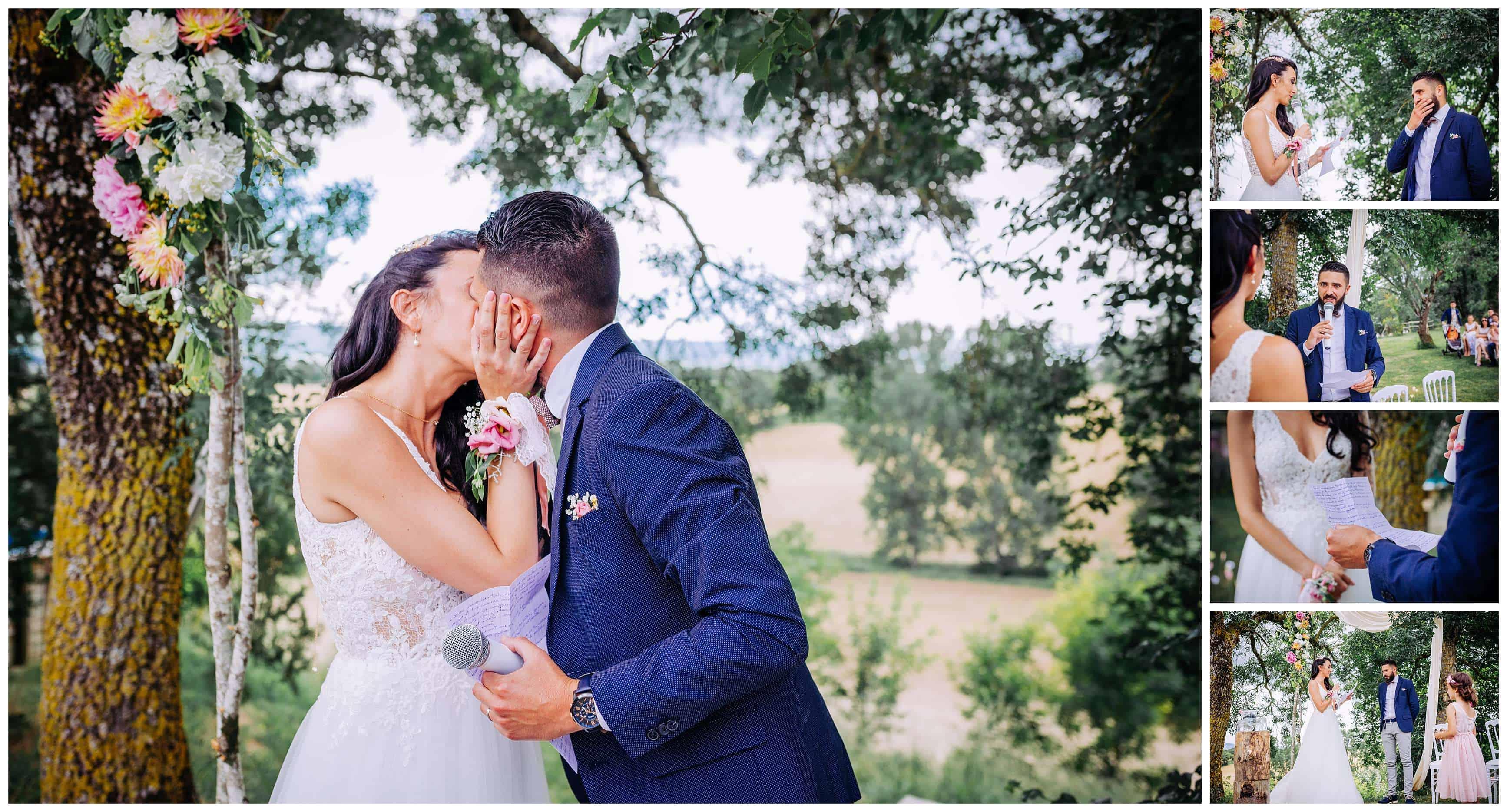 ceremonie laique baiser des mariés photographe toulouse