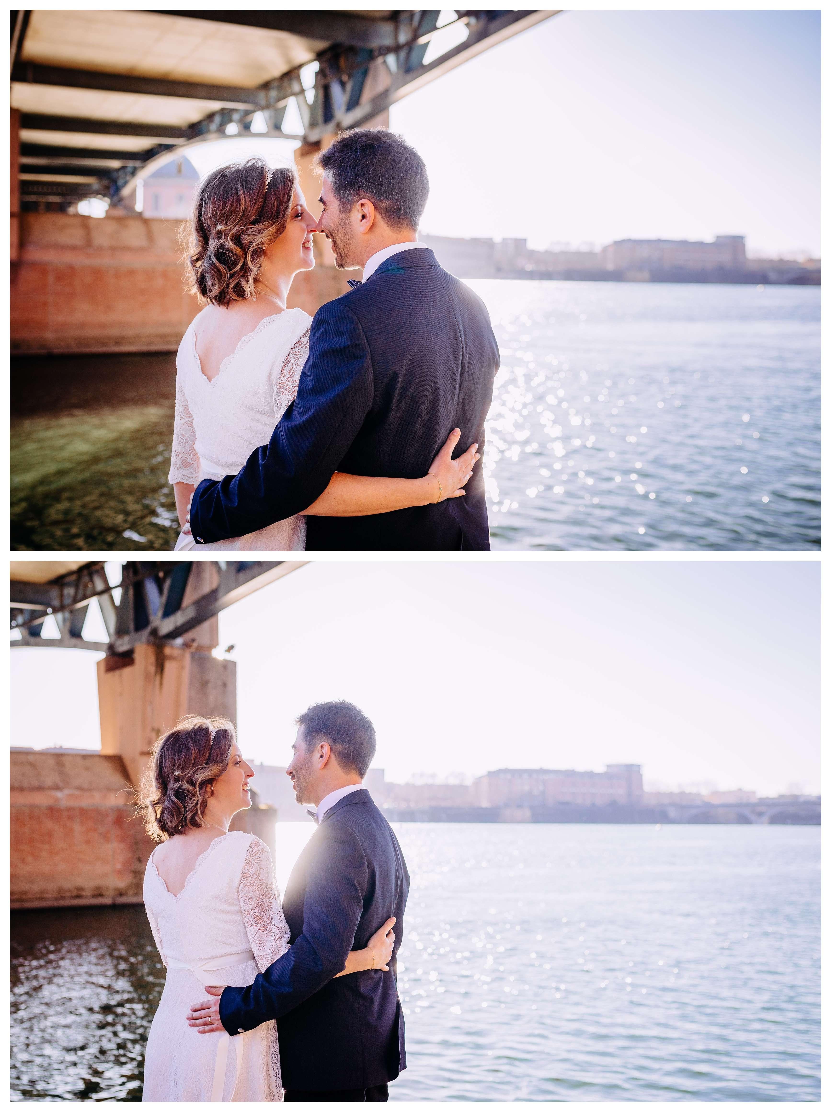 Mariage au capitole seance photo en bord de garone ensuite
